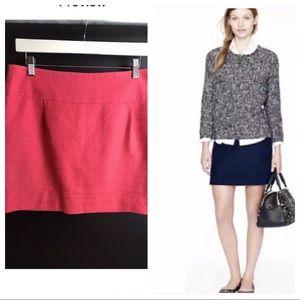 J.CREW Textured Mini Skirt Coral Pink Exposed Zip